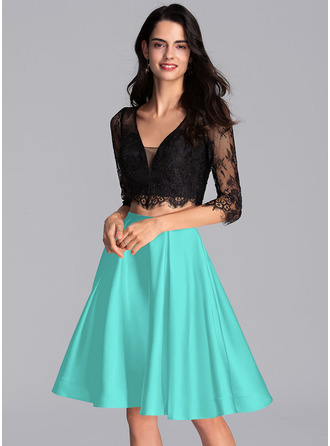 A-Line V-neck Knee-Length Satin Homecoming Dress With Pockets