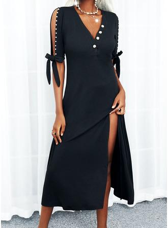 Solid A-line kjole 1/2-ermer Midi Lille svarte Avslappet skater Motekjoler