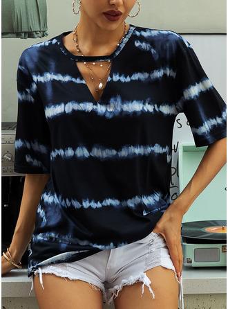 Tie Dye Short Sleeves Polyester V Neck Blouses Blouses