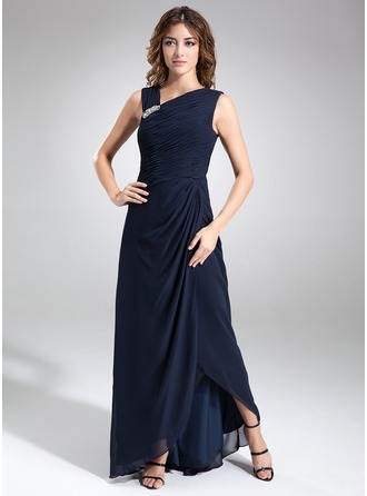 A-Line/Princess V-neck Asymmetrical Chiffon Mother of the Bride Dress With Ruffle Beading