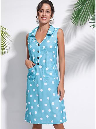 PolkaDot Shift Sleeveless Midi Casual Tank Dresses