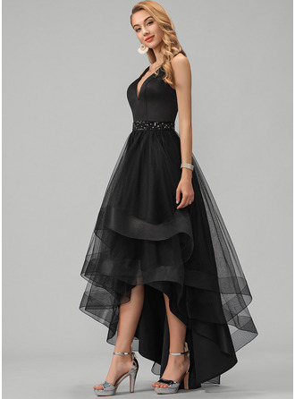 A-Line V-neck Asymmetrical Tulle Evening Dress With Beading Sequins