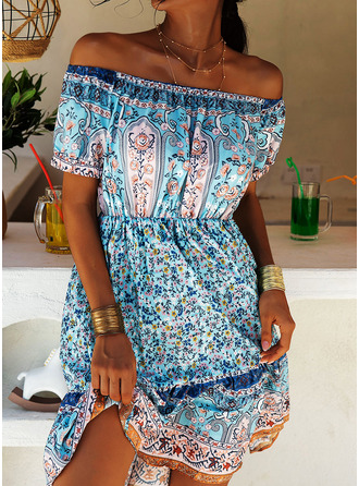 Print A-line Short Sleeves Mini Boho Casual Vacation Skater Dresses