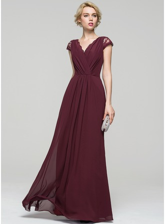 A-Line/Princess V-neck Floor-Length Chiffon Evening Dress With Ruffle Lace Bow(s)