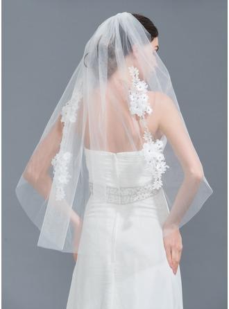 One-tier Cut Edge Fingertip Bridal Veils With Applique/Rhinestones