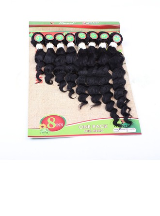 Deep Synthetic Hair Human Hair Weave 8pcs