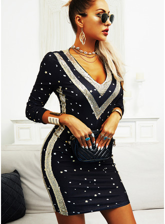 Sequins Bodycon Long Sleeves Mini Elegant Dresses