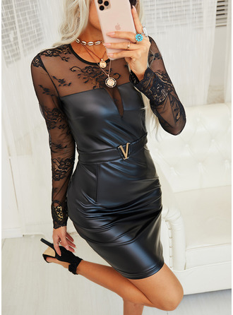 Blonder Solid Bodycon Lange ermer Mini Lille svarte Party Elegant Motekjoler