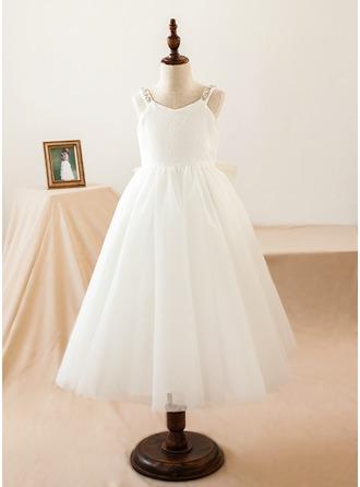 Vestidos princesa/ Formato A Comprimento médio Vestidos de Menina das Flores - Tule/Renda Sem magas Decote V com Curvado/V volta