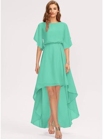 A-Line Scoop Neck Asymmetrical Chiffon Evening Dress