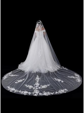 Uma camada Borda com aplicação de renda Catedral véus de noivas com Aplicação/Renda