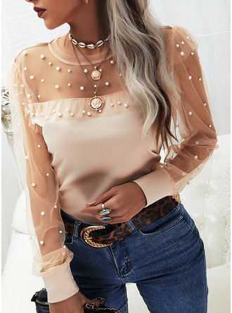 Beaded Solid Round Neck Long Sleeves Elegant Blouses (1003255457)
