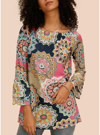 Floral Print Round Neck Flare Sleeve Long Sleeves Casual Blouses