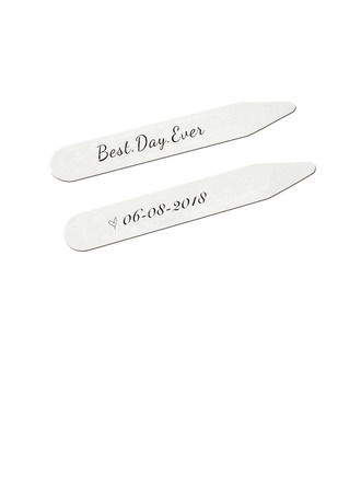 Personalized Classic Modern Stainless Steel Collar Stays (Set of 2)