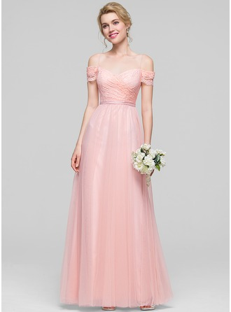 A-Line/Princess Off-the-Shoulder Floor-Length Tulle Prom Dress With Ruffle