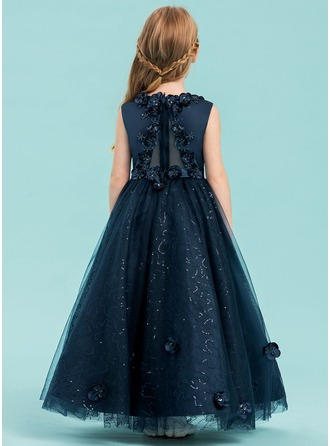 A-Line/Princess Ankle-length Flower Girl Dress - Satin/Tulle Sleeveless Scoop Neck With Beading/Flower(s)/Sequins