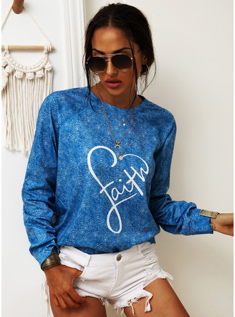 Print Long Sleeves Cotton Blends Round Neck T-shirt Blouses