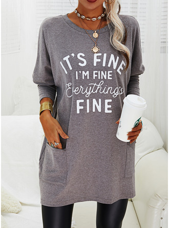 Print Pockets Figure Round Neck Long Sleeves Sweatshirt