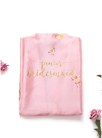 Non-personalized Charmeuse Junior Bridesmaid Floral Robes Glitter Print Robes