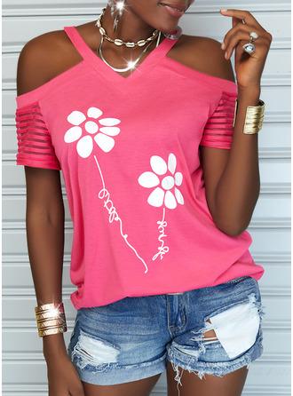 Floral Print Letter Cold Shoulder Short Sleeves Casual Blouses