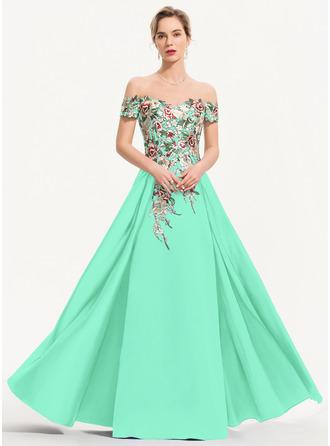 A-Line Off-the-Shoulder Floor-Length Satin Evening Dress