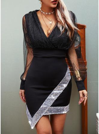 pailletter Solid Skede Lange ærmer Mini Party Casual Mode kjoler