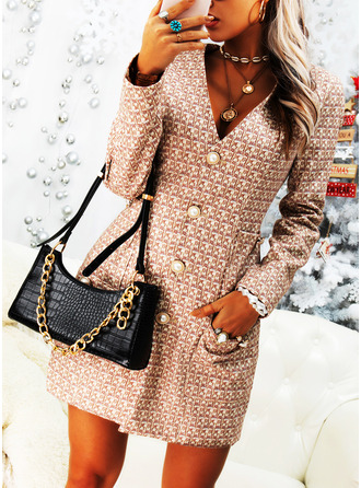 Print Sheath Long Sleeves Mini Casual Dresses