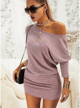 Pevný Přiléhavé Široké Rukávy Dlouhé rukávy Mini Neformální Módní šaty