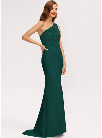 Trumpet/Mermaid One-Shoulder Sweep Train Chiffon Bridesmaid Dress