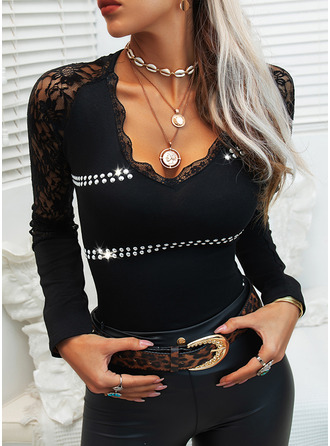 Lace Sequins Solid V-Neck Long Sleeves Casual Blouses
