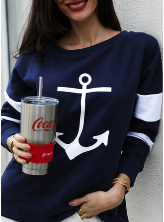 Print Striped Round Neck Long Sleeves Sweatshirt (1001253800)