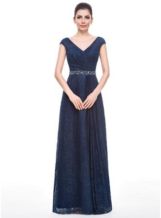 A-Linie/Princess-Linie V-Ausschnitt Bodenlang Spitze Kleid für die Brautmutter mit Rüschen Perlen verziert Pailletten