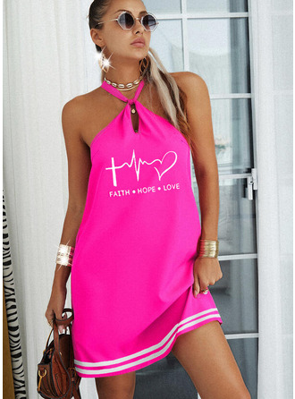 Print Striped Heart Letter Shift Sleeveless Mini Casual Dresses