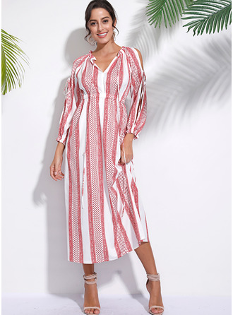Maxi V-hals Bomull Blends Print Cold shoulder-ermer Motekjoler
