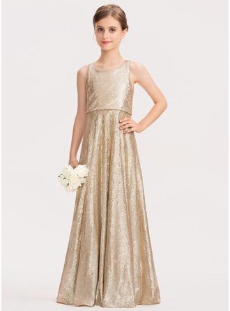 A-Linie U-Ausschnitt Bodenlang Pailletten Kleid für junge Brautjungfern