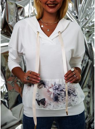 Animal Print Floral Long Sleeves Hoodie
