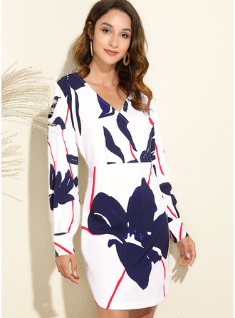 Floral Print Sheath Long Sleeves Midi Elegant Dresses