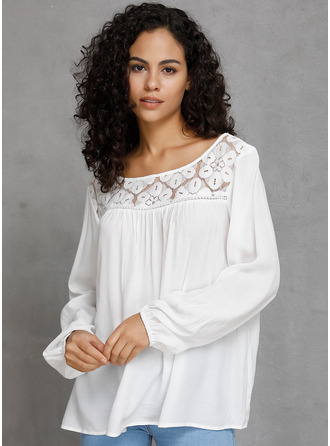 Lace твердый Long Sleeves Cotton Round Neck Блузы