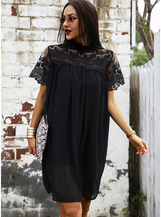 Lace Solid Shift Short Sleeves Midi Little Black Elegant Tunic Dresses