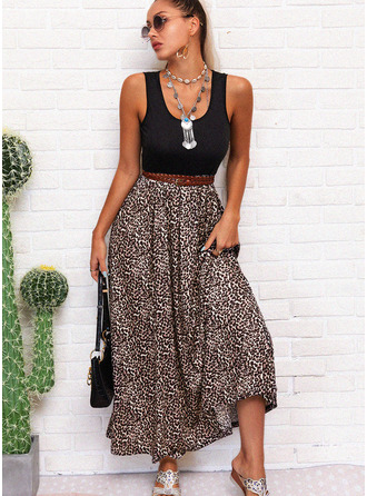 Leopard A-line Sleeveless Maxi Casual Vacation Skater Dresses