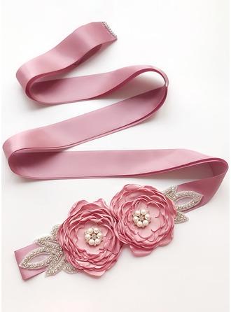 Beautiful Satin Belt With Flower/Rhinestones/Imitation Pearls