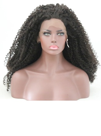 Curly Syntetisk Lace Front Parykar 340g
