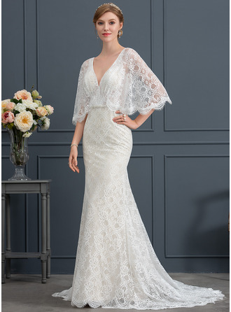 Trumpet/Mermaid V-neck Sweep Train Lace Wedding Dress With Beading Sequins