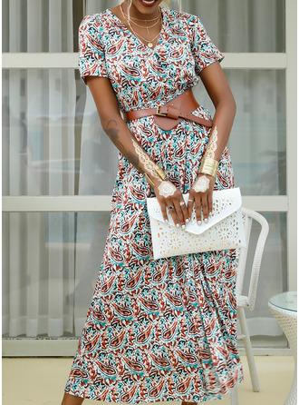 印刷 Vネック 半袖 マキシ ファッションドレス