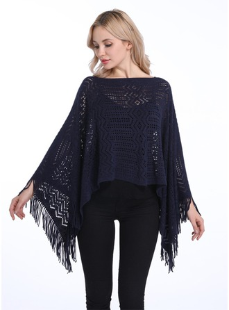 Couleur unie/Tassel Énorme/simple Laine artificielle Poncho