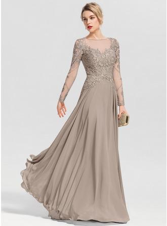 Corte A Decote redondo Longos Tecido de seda Vestido de festa com Beading lantejoulas