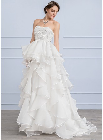 Corte A/Princesa Novio Barrer/Cepillo tren Organdí Encaje Vestido de novia