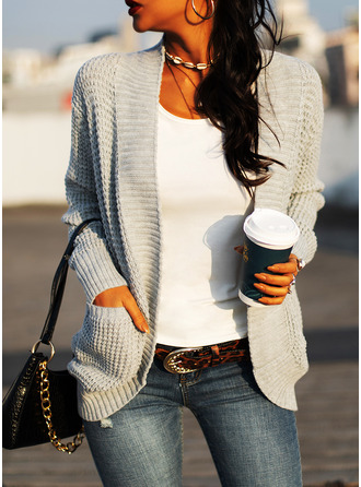 Casual Solid Pocket Sweaters