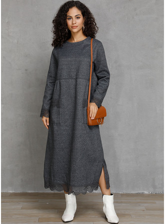 Maxi Round Neck Cotton Blends Solid Long Sleeves Fashion Dresses