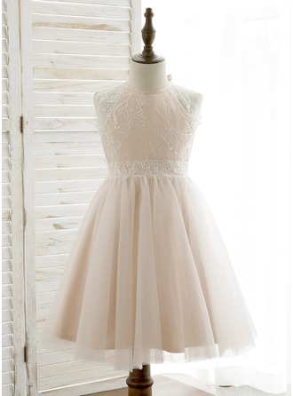 A-Line/Princess Knee-length Flower Girl Dress - Tulle/Lace Sleeveless Halter With Back Hole